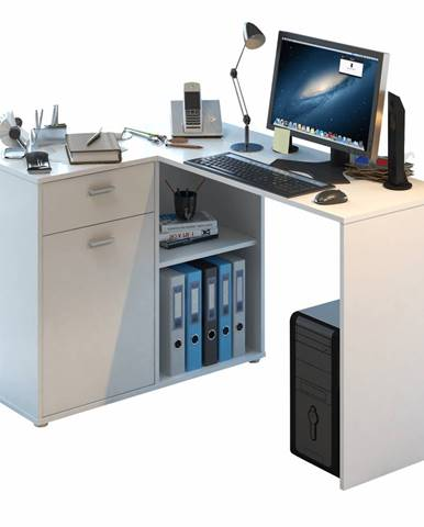 Rohový PC stôl biela KALIMERO