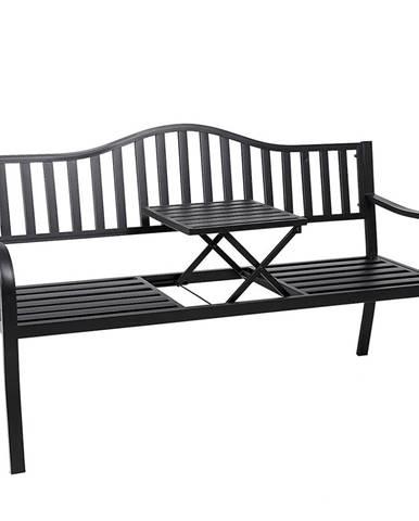 Záhradná lavička so stolíkom čierna DAGNO