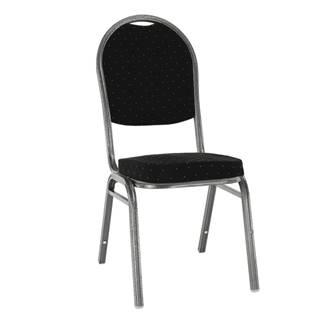 Stolička stohovateľná látka čierna /sivý rám JEFF 3 NEW