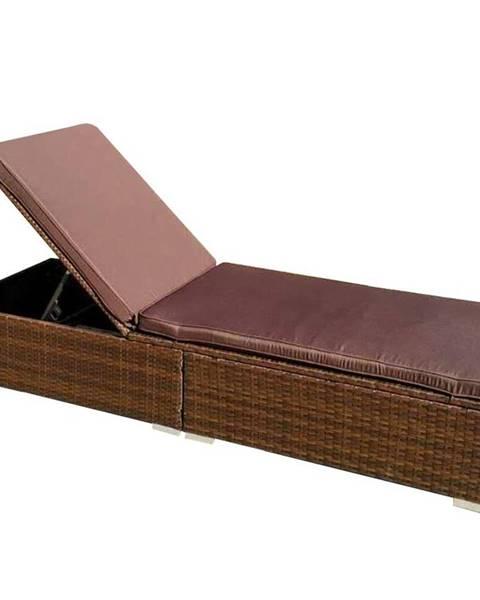 MERKURY MARKET Záhradné ležadlo technorattan New York 195x68x33 hnedá