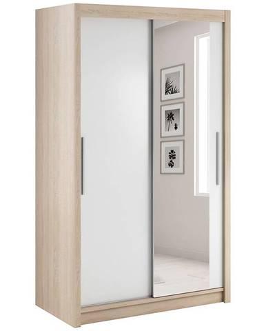 Skriňa Verona 120 Sonoma/biela/zrkadlo