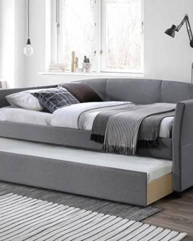 Čalúnená posteľ Sebastian 90x200, sivá, vr. roštu s prístelkou