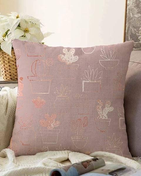 Minimalist Cushion Covers Ružová obliečka na vankúš s prímesou bavlny Minimalist Cushion Covers Succulent, 55 x 55 cm