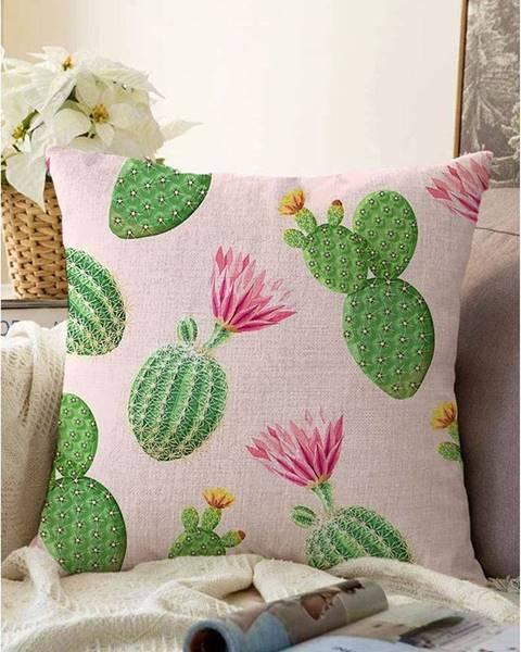 Minimalist Cushion Covers Ružovo-zelená obliečka na vankúš s prímesou bavlny Minimalist Cushion Covers Blooming Cactus, 55 x 55 cm