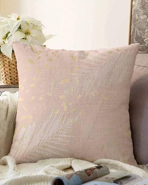 Minimalist Cushion Covers Svetloružová obliečka na vankúš s prímesou bavlny Minimalist Cushion Covers Leaves, 55 x 55 cm