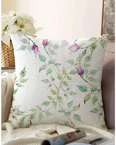 Béžová obliečka na vankúš s prímesou bavlny Minimalist Cushion Covers Roses, 55 x 55 cm