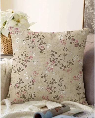 Hnedá obliečka na vankúš s prímesou bavlny Minimalist Cushion Covers Bloom, 55 x 55 cm