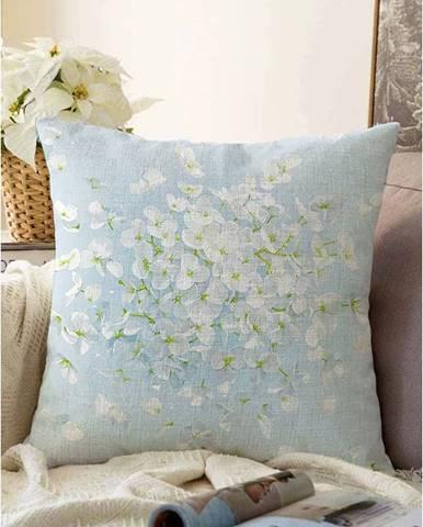 Modrá obliečka na vankúš s prímesou bavlny Minimalist Cushion Covers Blossom, 55 x 55 cm