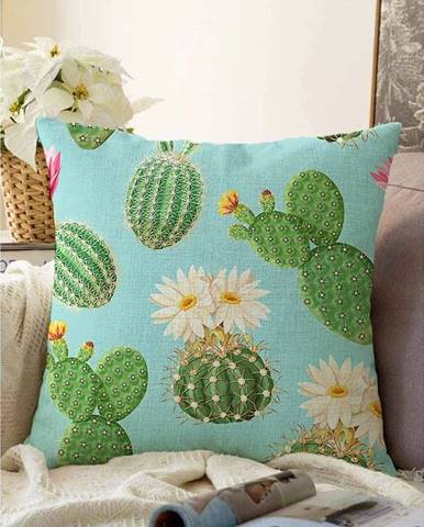 Modro-zelená obliečka na vankúš s prímesou bavlny Minimalist Cushion Covers Blooming Cactus, 55 x 55 cm