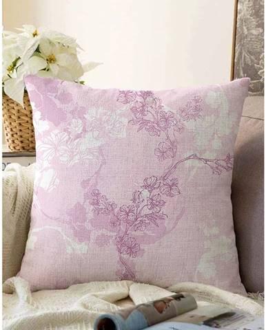 Ružová obliečka na vankúš s prímesou bavlny Minimalist Cushion Covers Bloom, 55 x 55 cm