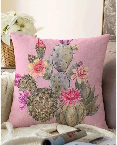 Ružová obliečka na vankúš s prímesou bavlny Minimalist Cushion Covers Blooming Cacti, 55 x 55 cm
