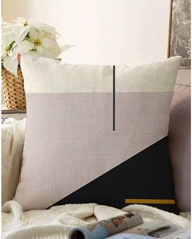 Ružovo-čierna obliečka na vankúš s prímesou bavlny Minimalist Cushion Covers Abstract, 55 x 55 cm