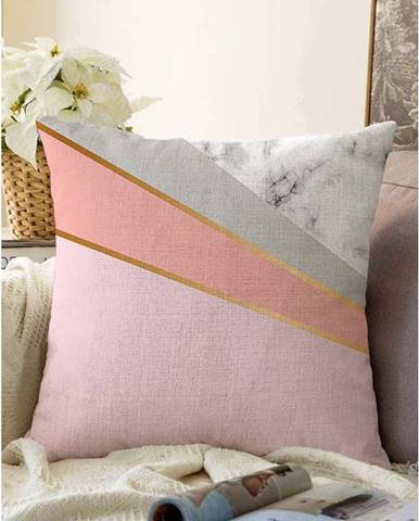 Ružovosivá obliečka na vankúš s prímesou bavlny Minimalist Cushion Covers Marble, 55 x 55 cm
