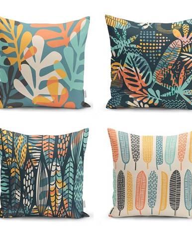 Súprava 4 obliečok na vankúše Minimalist Cushion Covers Colorful Leaves, 45 x 45 cm