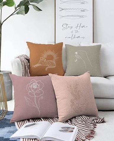 Súprava 4 obliečok na vankúše Minimalist Cushion Covers Unicorn, 55 x 55 cm