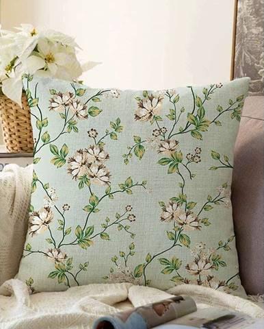 Zelená obliečka na vankúš s prímesou bavlny Minimalist Cushion Covers Blooming, 55 x 55 cm