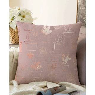 Ružová obliečka na vankúš s prímesou bavlny Minimalist Cushion Covers Succulent, 55 x 55 cm