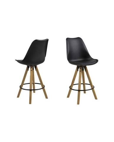 Čierna jedálenská stolička s podnožím z kaučukového dreva Actona Dima