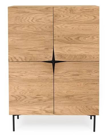 Hnedý príborník v dekore dubového dreva Woodman Flop, 100 x 140 cm