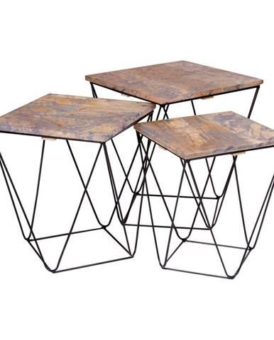 Súprava 3 odkladacích stolíkov so sivou doskou z mangového dreva HoNordic Ranchi