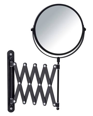 Čierne nástenné kozmetické zrkadlo s teleskopickým držiakom Wenko Exclusive
