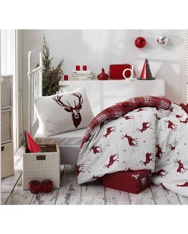 Obliečky s plachtou s prímesou bavlny na jednolôžko Eponj Home Geyik Claret Red, 160 × 220 cm