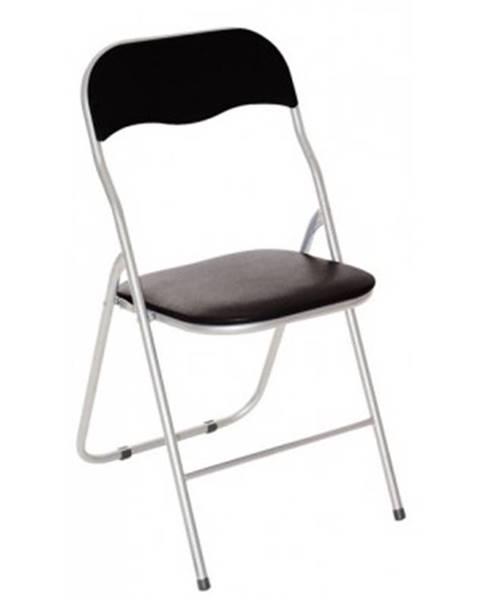 ASKO - NÁBYTOK Skladacia stolička Foldus, čierna ekokoža%