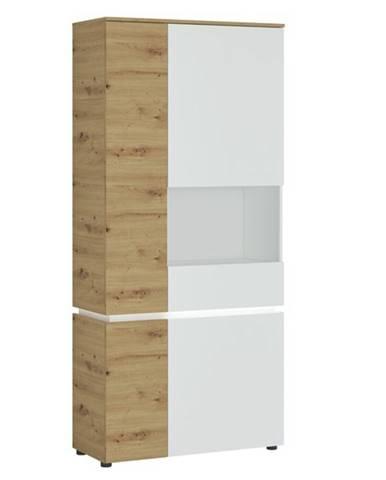 Vitrína LUCI pravá, dub artisan/alpská biela