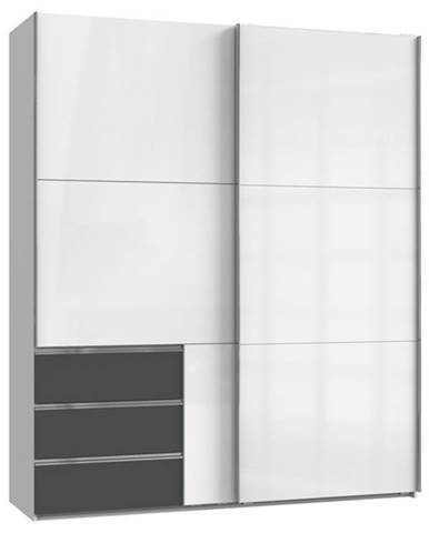 Šatníková skriňa ELIOT biela/grafit, šírka 200 cm, bez zrkadla
