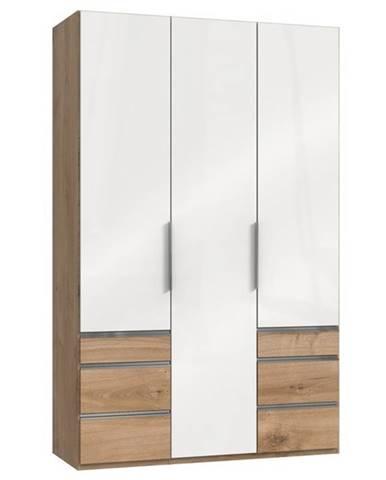 Šatníková skriňa ELIOT dub/biela, 3 dvere
