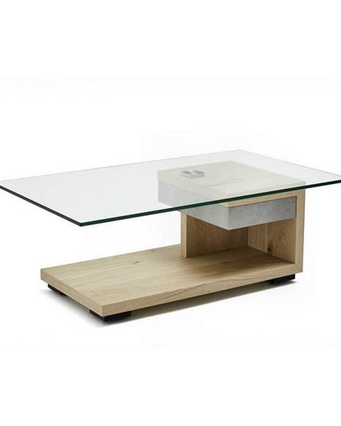 Moderano Moderano KONFERENČNÝ STOLÍK, biela, farby orecha, drevo, kov, sklo, kompozitné drevo, 110/65/40 cm - biela, farby orecha