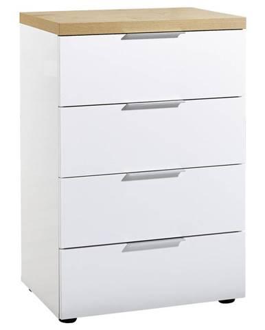 Xora KOMODA, biela, farby dubu, 60/89/43 cm - biela, farby dubu