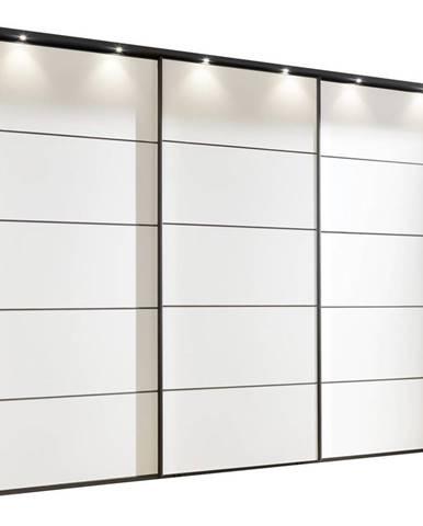 Xora SKRIŇA S POSUVNÝMI DVERMI, grafitová, biela, 250/217/67 cm - grafitová, biela