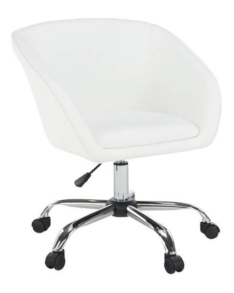 Tempo Kondela Kancelárske kreslo biela ekokoža/kov LENER