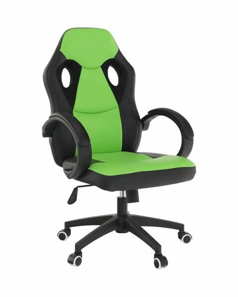 Tempo Kondela Kancelárske kreslo ekokoža čierna/zelená LESTER NEW rozbalený tovar