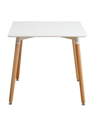 Jedálenský stôl biela/bukové nohy DIDIER  2 NEW rozbalený tovar