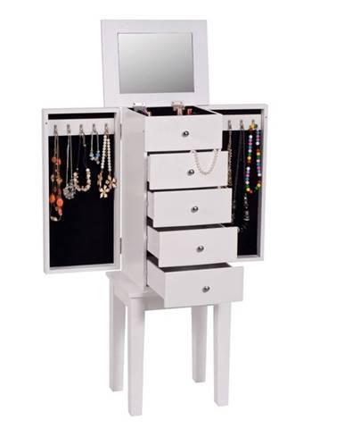 Šperkovnica so zrkadlom biela DINIS rozbalený tovar