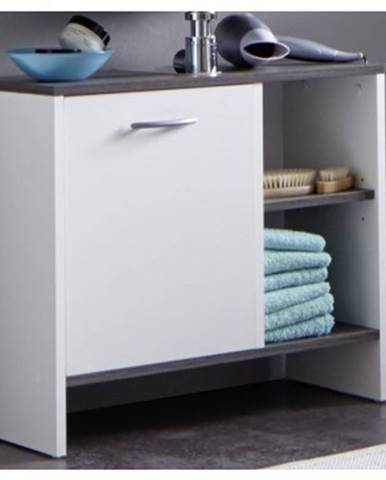 Kúpeľňová skrinka pod umývadlo California, biela/šedý dub, 1 dvere%