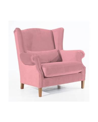Ružové zamatové kreslo ušiak Max Winzer Harvey Velvet