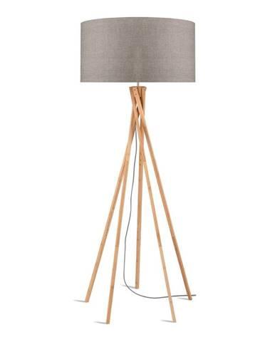 Stojacia lampa s béžovým tienidlom a konštrukciou z bambusu Good&Mojo Kilimanjaro