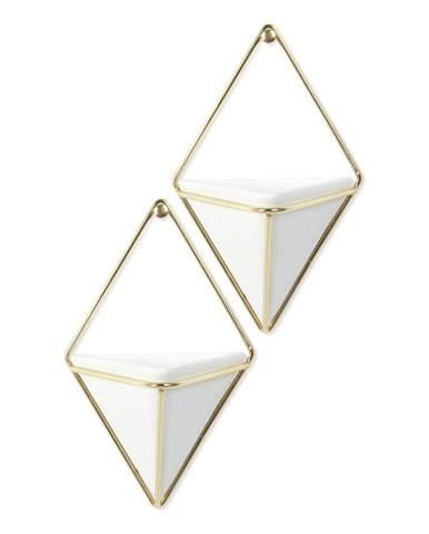 Súprava 2 bielych keramických závesných kvetináčov s konštrukciou v zlatej farbe Umbra Trigg