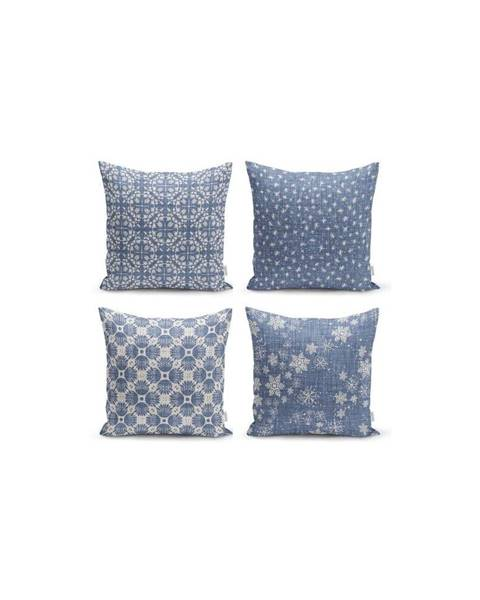 Minimalist Cushion Covers Súprava 4 dekoratívnych obliečok na vankúše Minimalist Cushion Covers Minimalist Drawing Blue, 45 x 45 cm