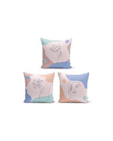 Súprava 3 dekoratívnych obliečok na vankúše Minimalist Cushion Covers Colorful Flower, 45 x 45 cm
