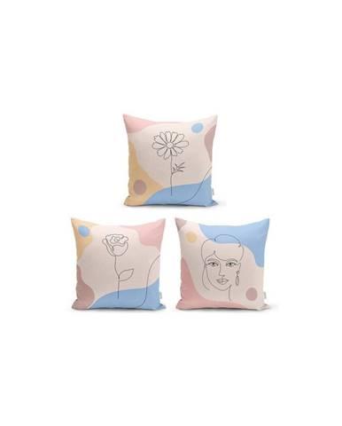 Súprava 3 dekoratívnych obliečok na vankúše Minimalist Cushion Covers Minimalist, 45 x 45 cm
