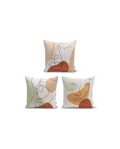 Súprava 3 dekoratívnych obliečok na vankúše Minimalist Cushion Covers Woman Face, 45 x 45 cm
