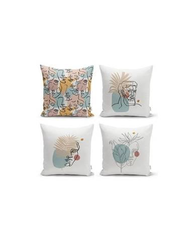 Súprava 4 dekoratívnych obliečok na vankúše Minimalist Cushion Covers Minimalist Face, 45 x 45 cm
