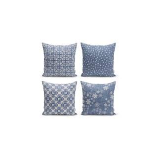 Súprava 4 dekoratívnych obliečok na vankúše Minimalist Cushion Covers Minimalist Drawing Blue, 45 x 45 cm