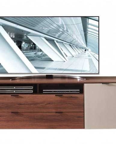 TV komoda ZENO orech amber/satinované sklo farba čadič