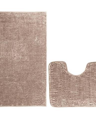 AmeliaHome Sada kúpeľňových predložiek Bati svetlohnedá, 2 ks 50 x 80 cm, 40 x 50 cm