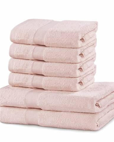 DecoKing Sada uterákov a osušiek Marina ružová, 4 ks 50 x 100 cm, 2 ks 70 x 140 cm
